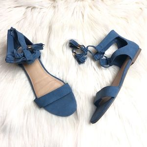 Candies Blue Ankle Strap Flat Sandals